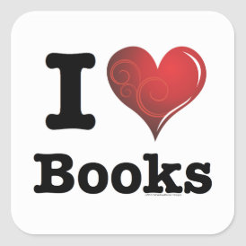 I heart books Swirly Curlique Heart 02 FADE 4000x4 Square Sticker