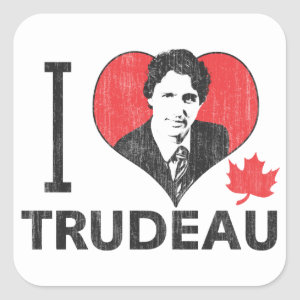 I Heart Trudeau Square Sticker
