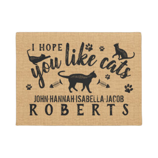 I Hope You Like Cats Funny Cat Lover Personalized Doormat