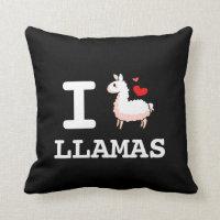 I Llama Llamas Throw Pillow