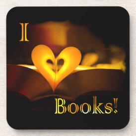 I Love Books - I 'Heart' Books (Candlelight) Beverage Coaster