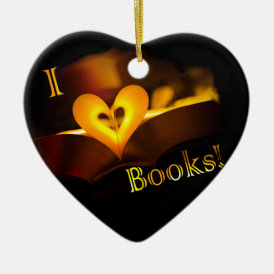 I Love Books - I 'Heart' Books (Candlelight) Ceramic Ornament