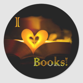 I Love Books - I 'Heart' Books (Candlelight) Classic Round Sticker
