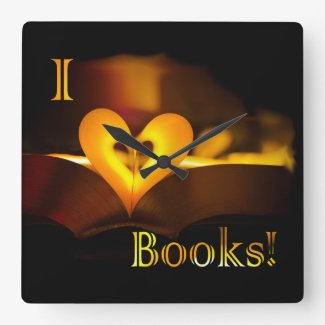 I Love Books - I 'Heart' Books (Candlelight) Square Wallclocks