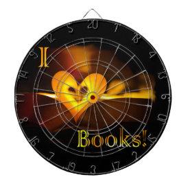 I Love Books - I 'Heart' Books (Candlelight) Dartboard With Darts