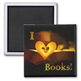 I Love Books - I 'Heart' Books (Candlelight) Magnet