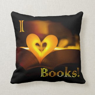 I Love Books - I 'Heart' Books (Candlelight) Throw Pillow