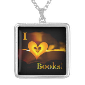 I Love Books - I 'Heart' Books (Candlelight) Silver Plated Necklace