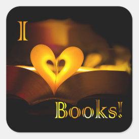 I Love Books - I 'Heart' Books (Candlelight) Square Sticker