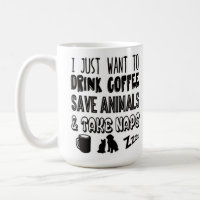I Love Coffee Animals and Naps Typography Coffee Mug