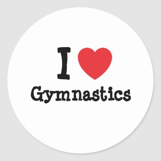 Download I love Gymnastics heart custom personalized Classic Round ...