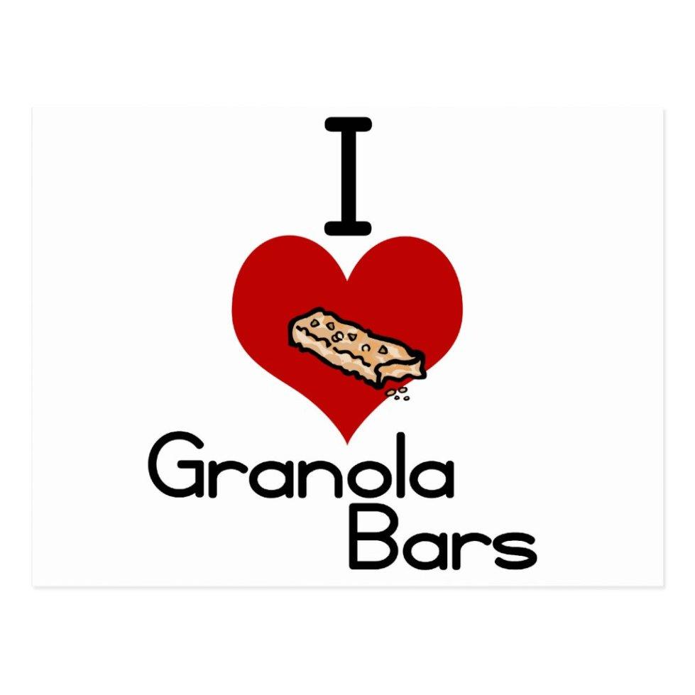 I love-heart granola bars postcard