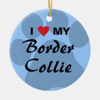 I Love My Border Collie Pawprint Ornament