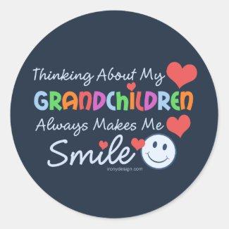 I Love My Grandchildren Round Stickers