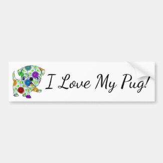 I Love My Pug Bumper Sticker