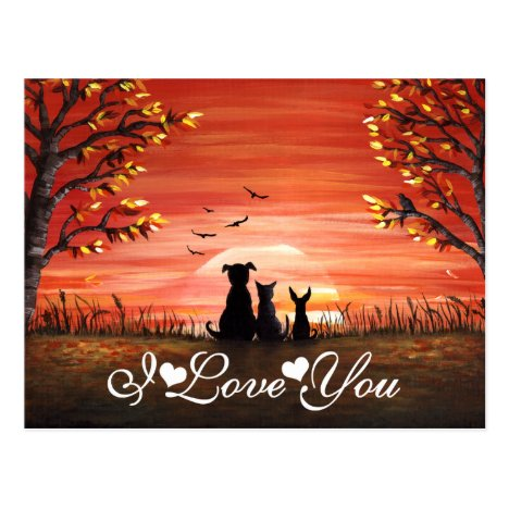 I Love You Whimsical Autumn Sunset Postcard