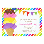❤️ Ice Cream Rainbow Birthday Party Invitation