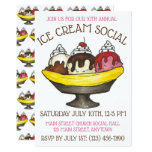 ❤️ Ice Cream Social Party Dessert Banana Split Sundae Invitation