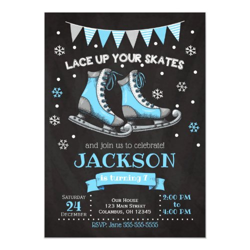 Ice Skating Birthday Invitation / Boy / Blue Grey