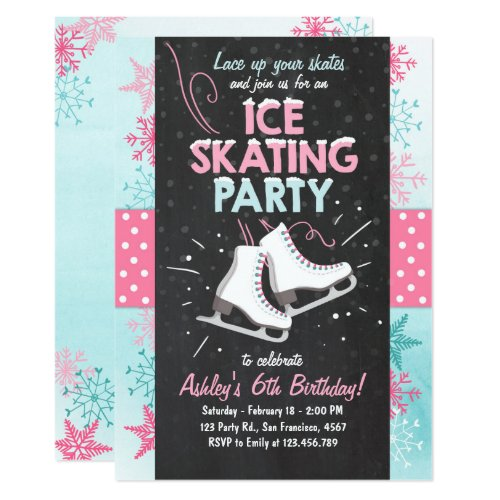 Ice Skating Birthday Invitation Skate Winter Pink