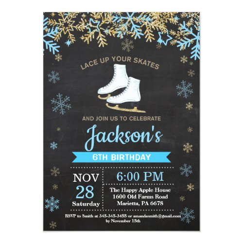 Ice Skating Birthday Party Blue Skate Invitation