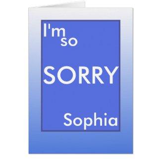 I'm so sorry white text on blue frame (name)