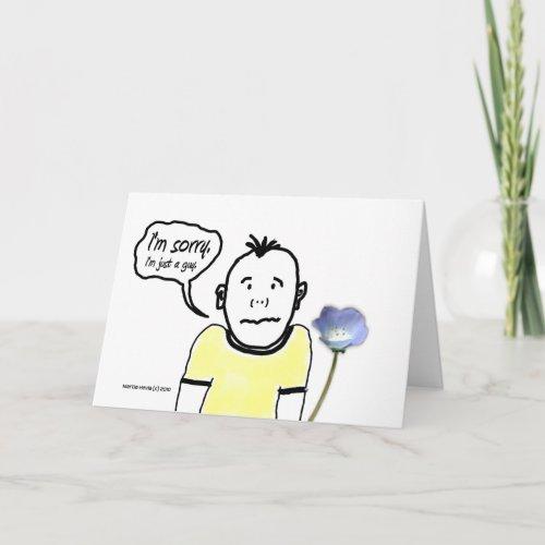 I'm Sorry - Cartoon Guy - Card card