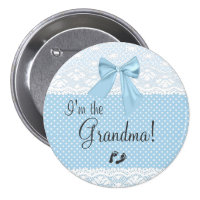 I'm The Grandma Blue Lace 3 Inch Round Button