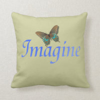 Imagine with Butterfly Sage Throw Pillow
