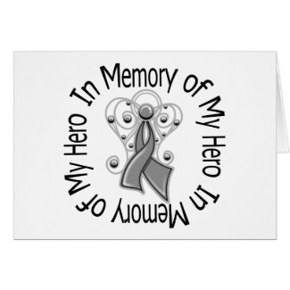 In Memory of My Hero Brain Tumor Angel Wings card