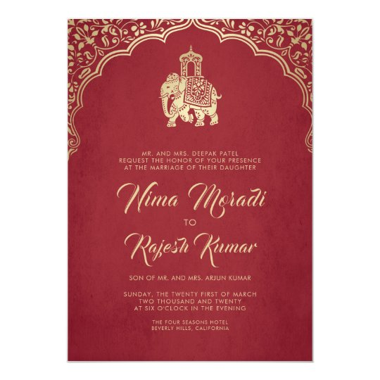 Indian Wedding Invitation Red Gold Ganesha
