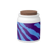 Indigo/Blue Zebra Print Candy Jar on Zazzle