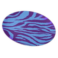 Indigo/Blue Zebra Print Plate on Zazzle