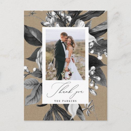 Industrial Rustic Chic Floral Photo Thank You Announcement Postcard