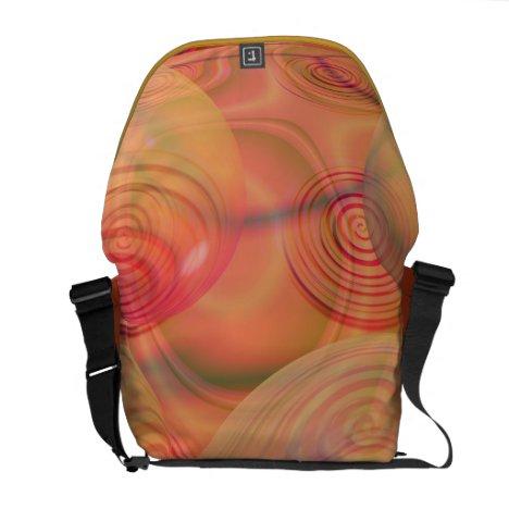 Inner Flow IV Fractal Abstract Orange Amber Galaxy Messenger Bag