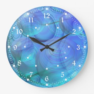 Inner Flow VI – Abstract Aqua & Azure Galaxy Round Wall Clocks