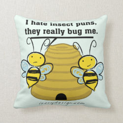 Insect Puns Bug Me Funny Bumble Bees Throw Pillow