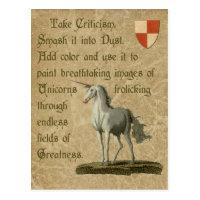 Inspirational Unicorn Quote Antique Parchment Postcard