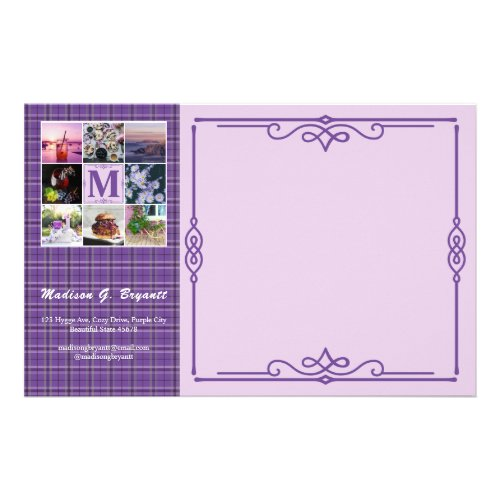 Instagram Photo Grid Purple Plaid Spring Hygge Stationery