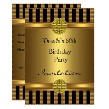 Invitation 60th Birthday Party Black Gold Mens