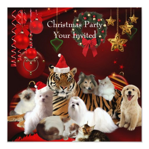 Invitation Christmas Party Xmas Tiger Cats Dogs 525