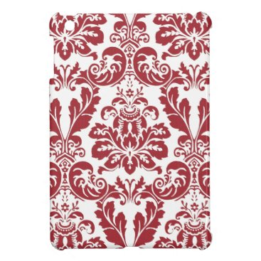 ipad mini case..red and white damask cover for the iPad mini