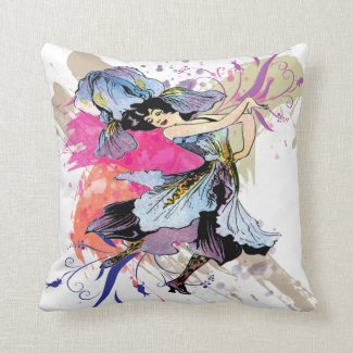 Iris Dancing Fairy Lady Vintage Abstract Art Pillows