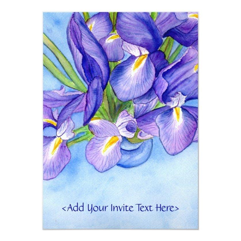 Iris Vase Flower Painting Invitation