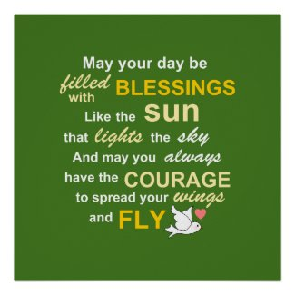 Irish Blessing for Courage - Typography in green Print
