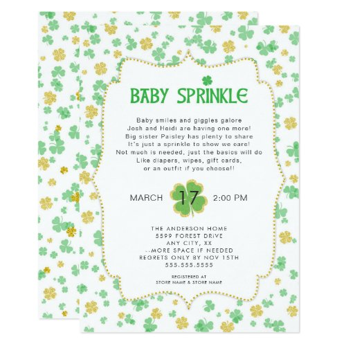 Irish Clovers Baby Sprinkle, neutral green gold Invitation
