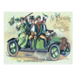 Irish Flag Shillelagh Green Car Shamrock Postcard