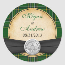Irish Tartan Celtic Claddagh Lucky in Love Wedding Stickers