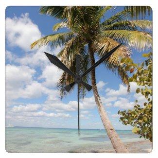 Isla Saona - Palm Tree at the Beach Wall Clock
