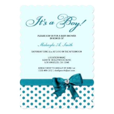 It's a Boy! Teal Blue Polka-DotsBaby Shower Card